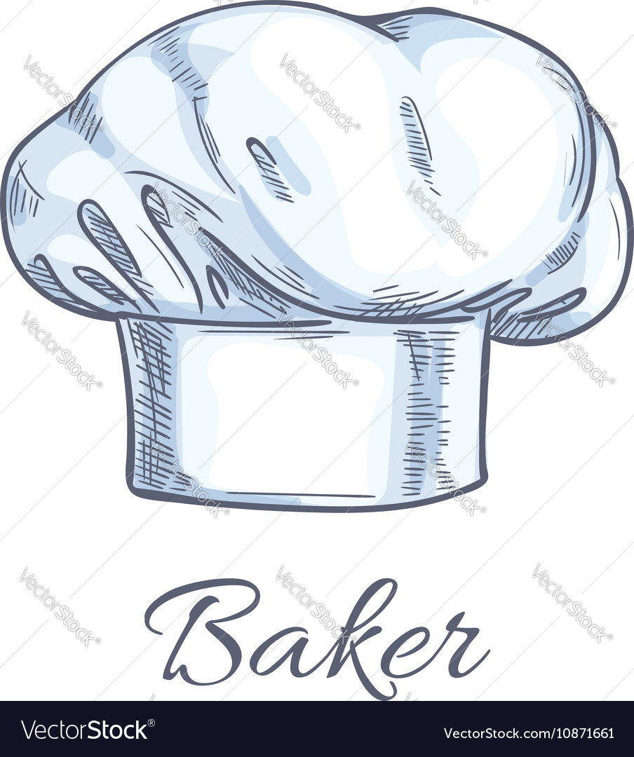 c08016ac85e5e White baker toque or chef hat sketch Royalty Free Vector