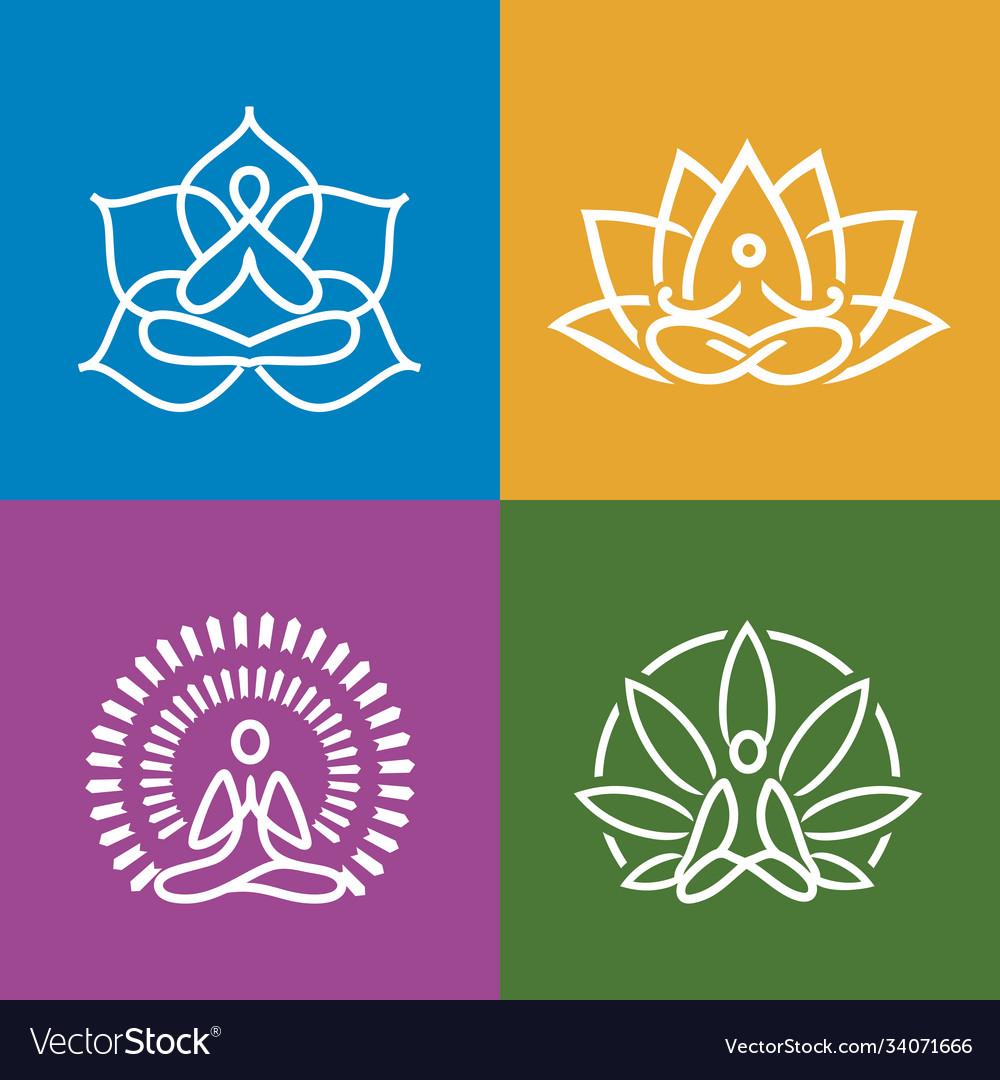 Abstract yoga icons set
