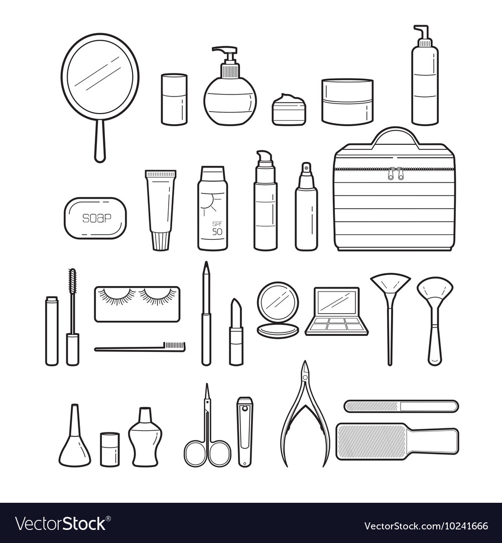 Cosmetics And Beauty Icons Set Monochrome vector image