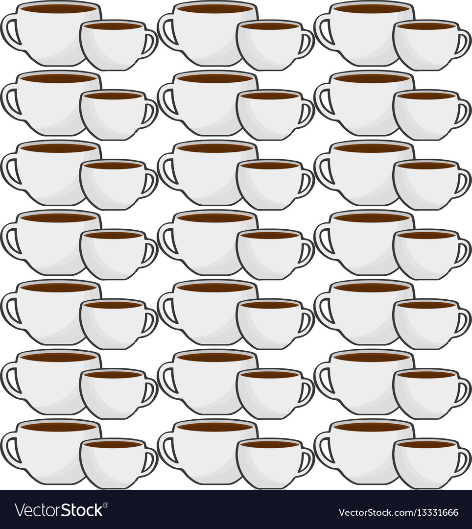 Cup coffee porcelain seamless pattern vector image
