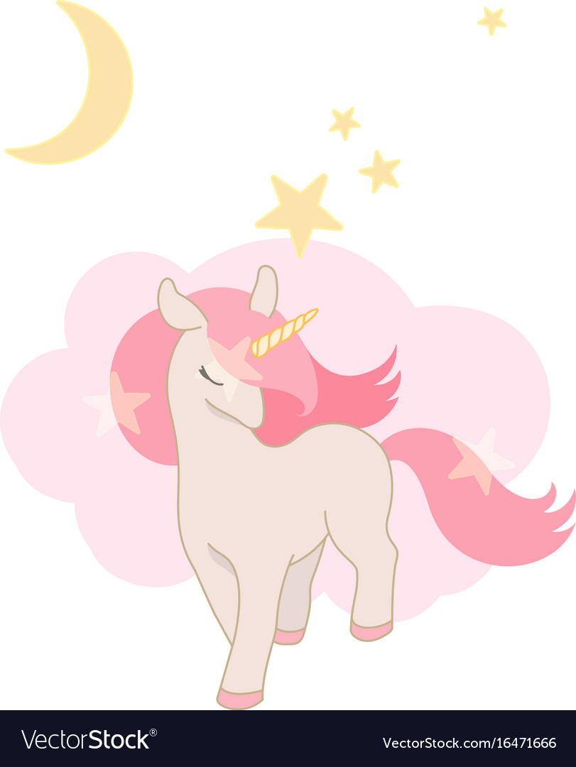Cute unicorn little pony with pink hair lovely