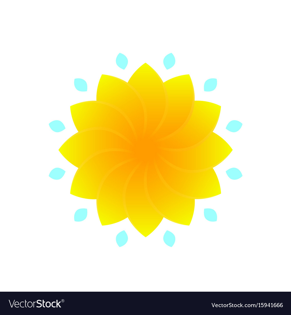 Flower For Logo Design Yellow On White Royalty Free Vector