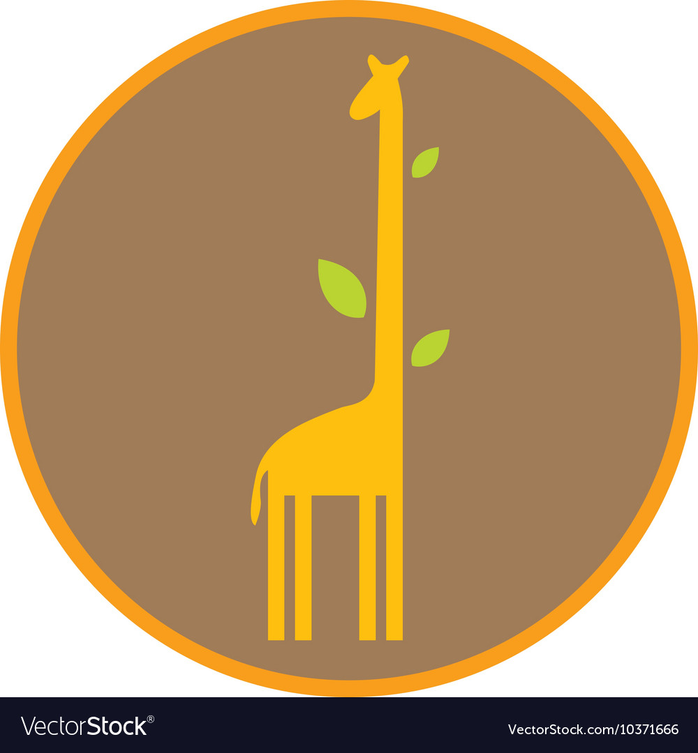 Funny giraffe with long neck and leaves