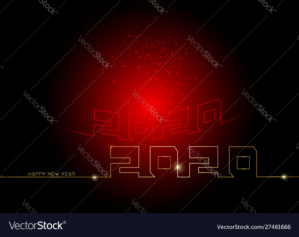 Happy new year 2020 gold logo text in line style