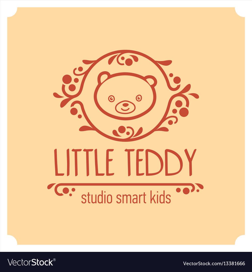 Kids club logo with teddy bear cute kindergarten