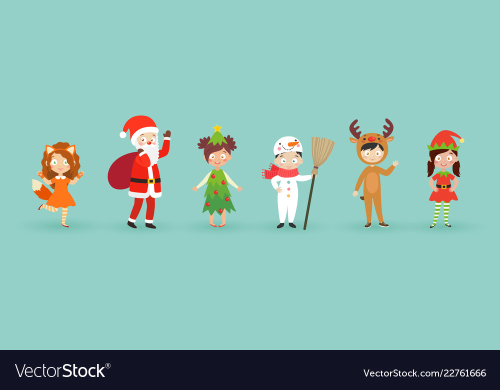 Kids wearing christmas costumes