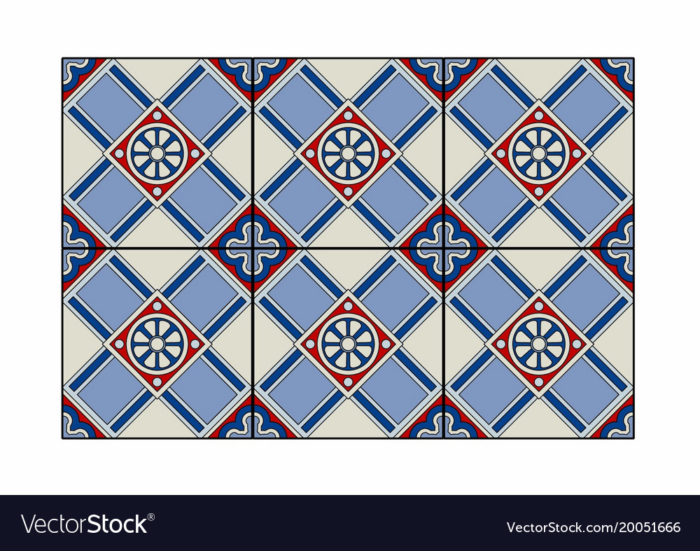 Red and blue patterned tiles Royalty Free Vector Image