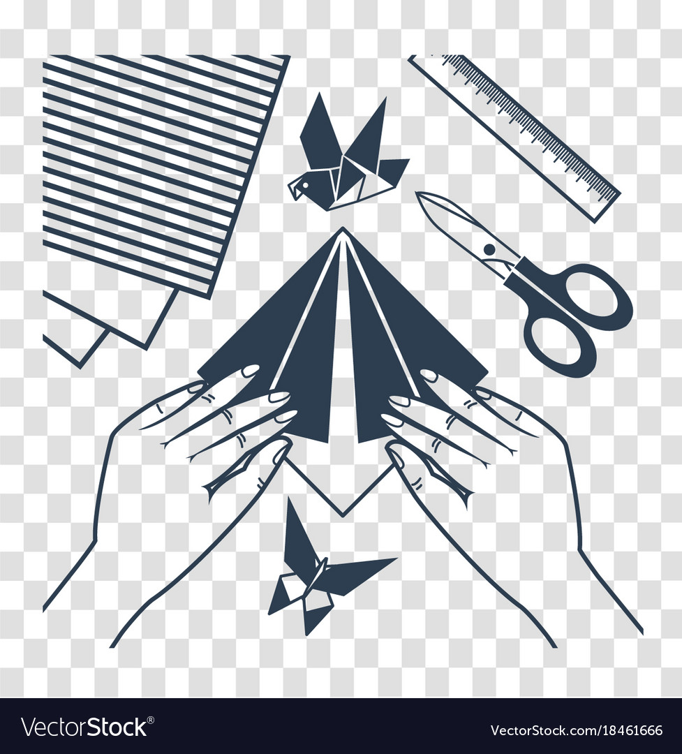 Silhouette origami lessons vector image