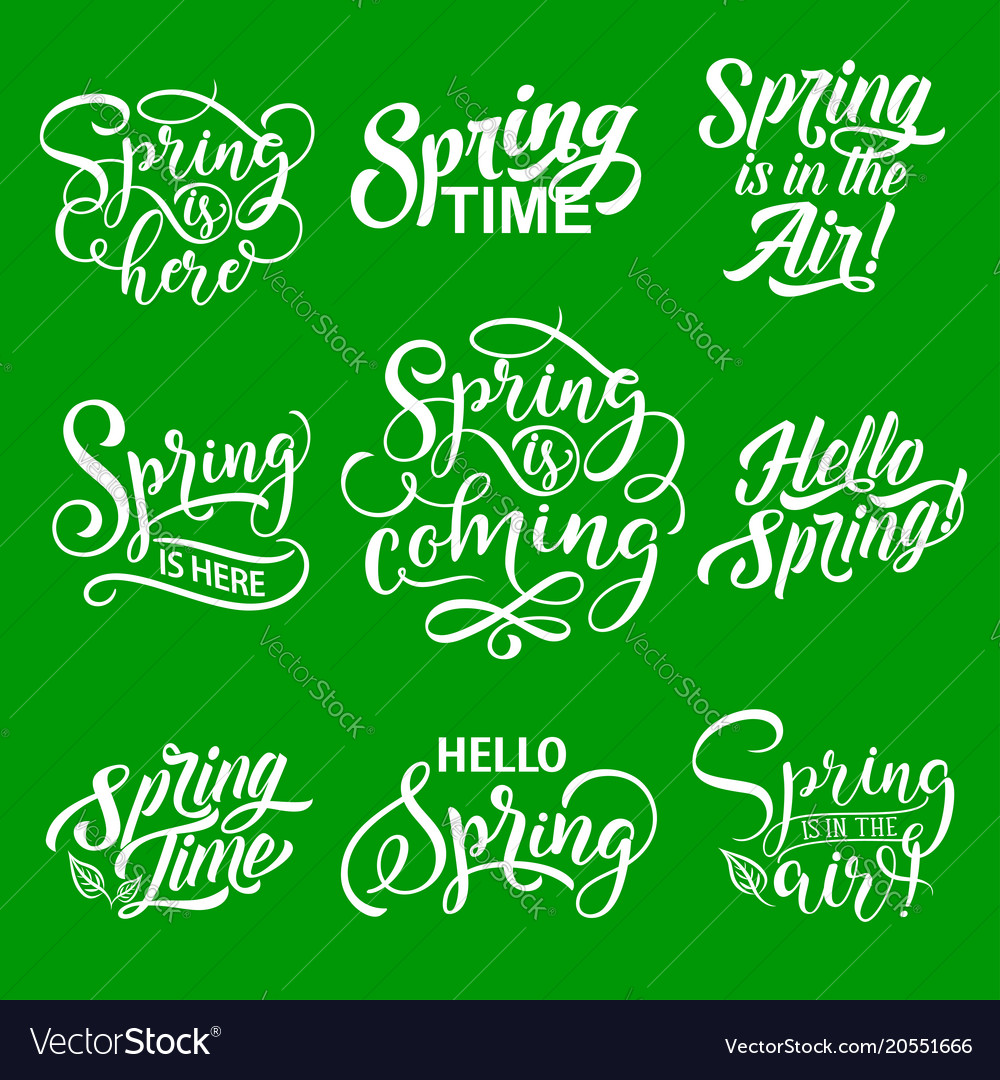 Spring lettering for springtime season holiday