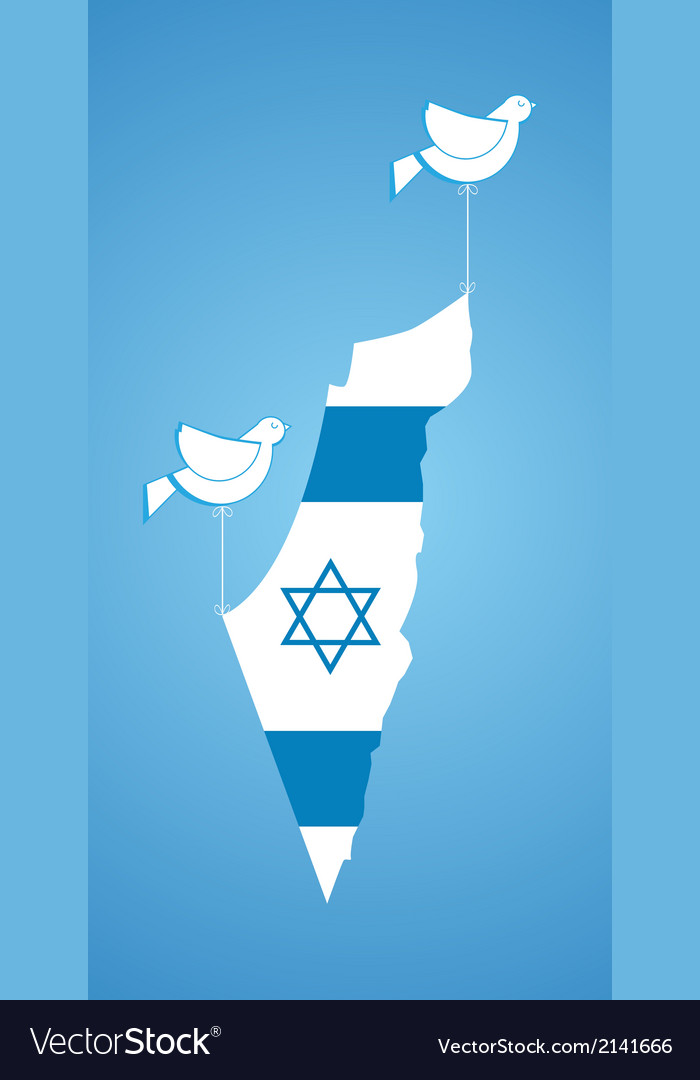 White dove holding map of Israel