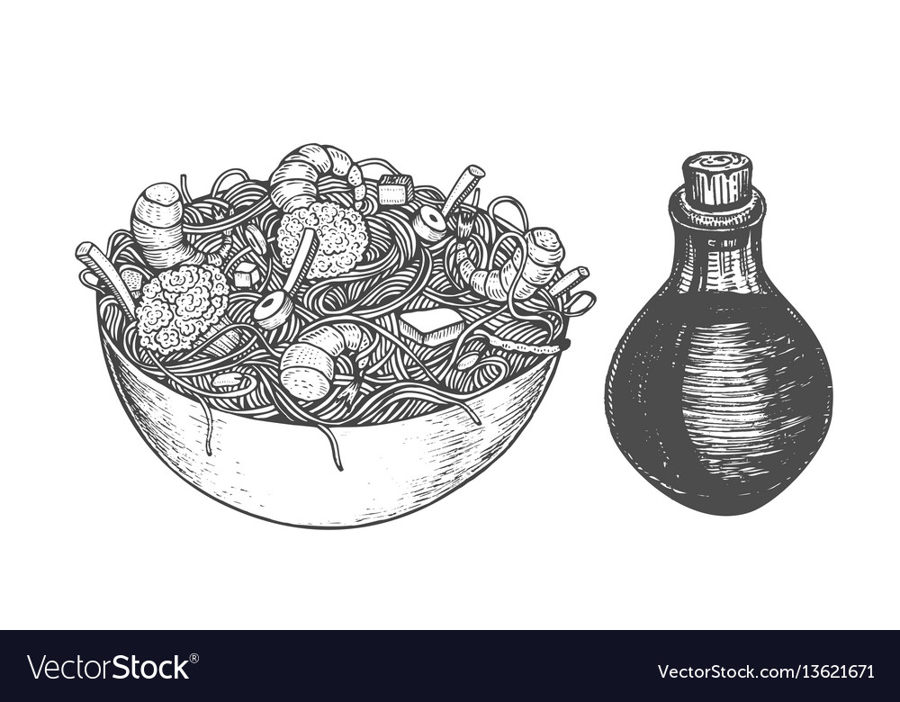 Asian fastfood with noodles shrimps pepper