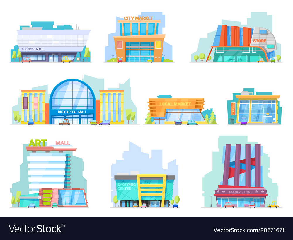 Building mall storefront of newbuild mall vector image