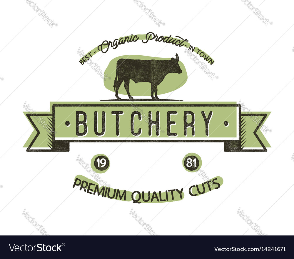Butchery shop vintage emblem butchery store logo