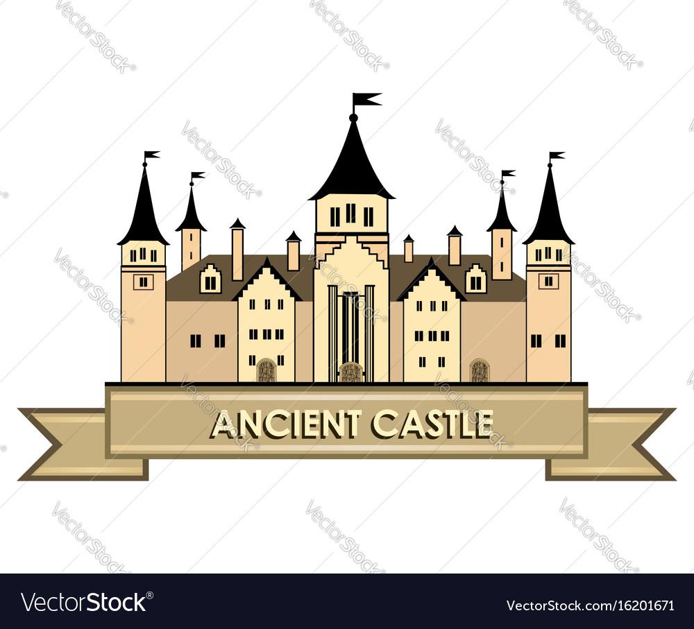 Castle building sign travel landmark label fairy