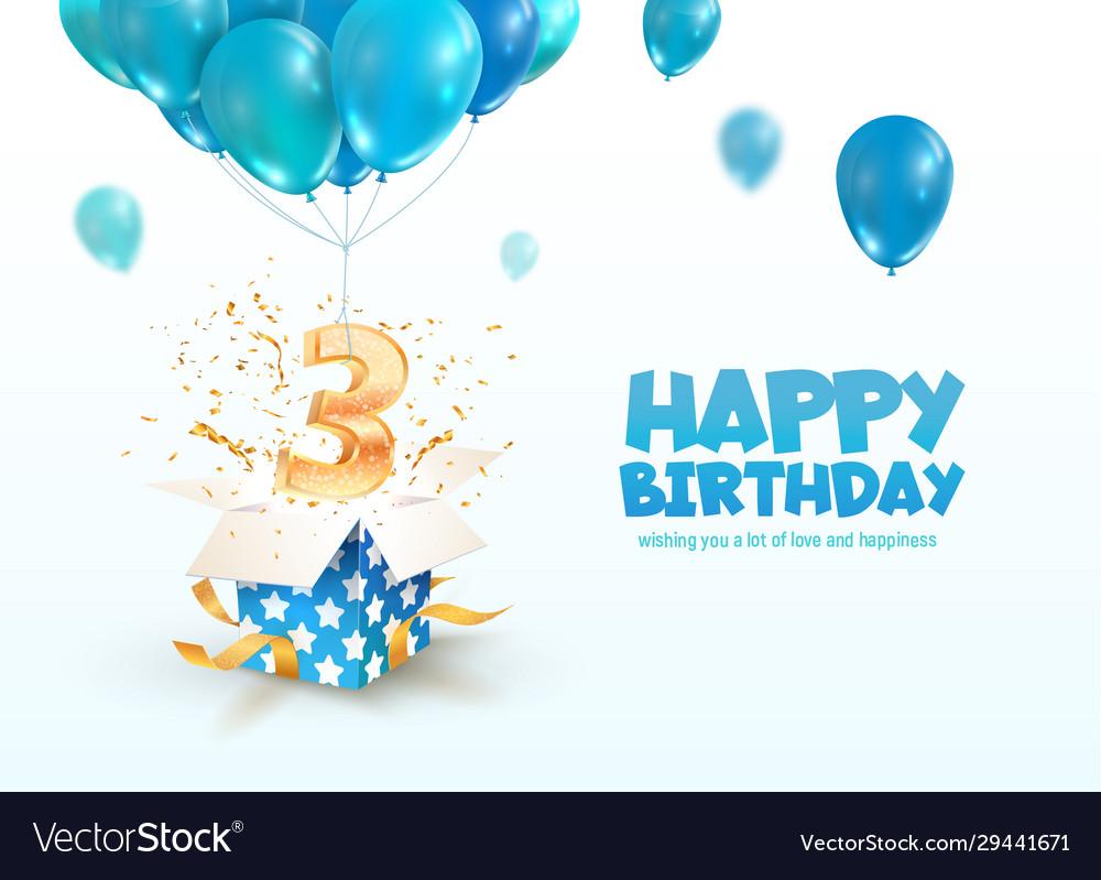 Celebrating 3 years birthday 3d