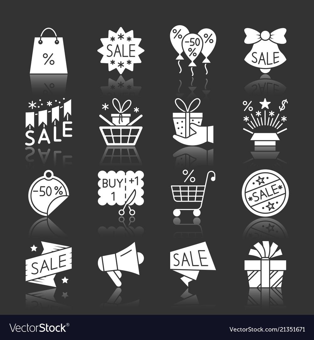Christmas season sale white silhouette icon set