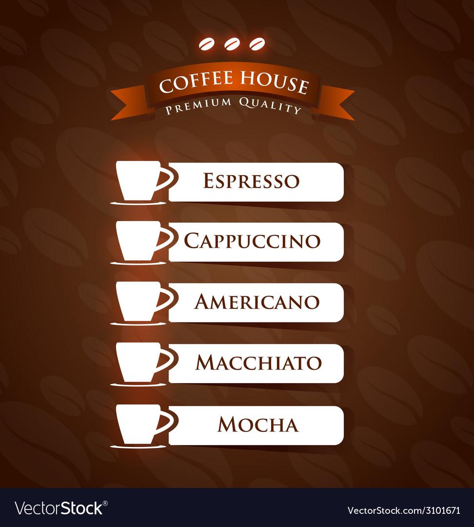 Coffee House Premium Quality menu list designs vector image
