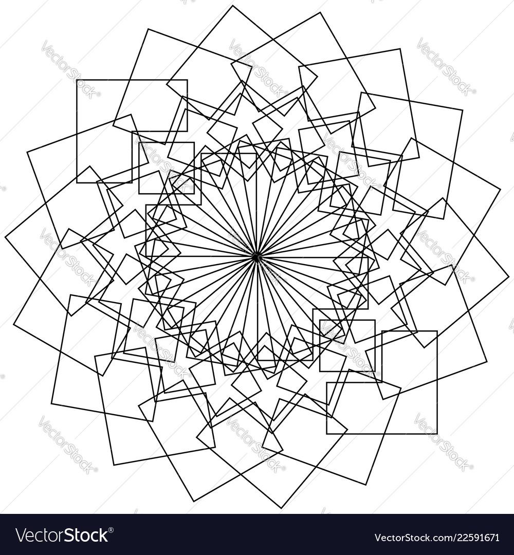 Geometric Flower Circular Pattern Lotus Flower Vector Image