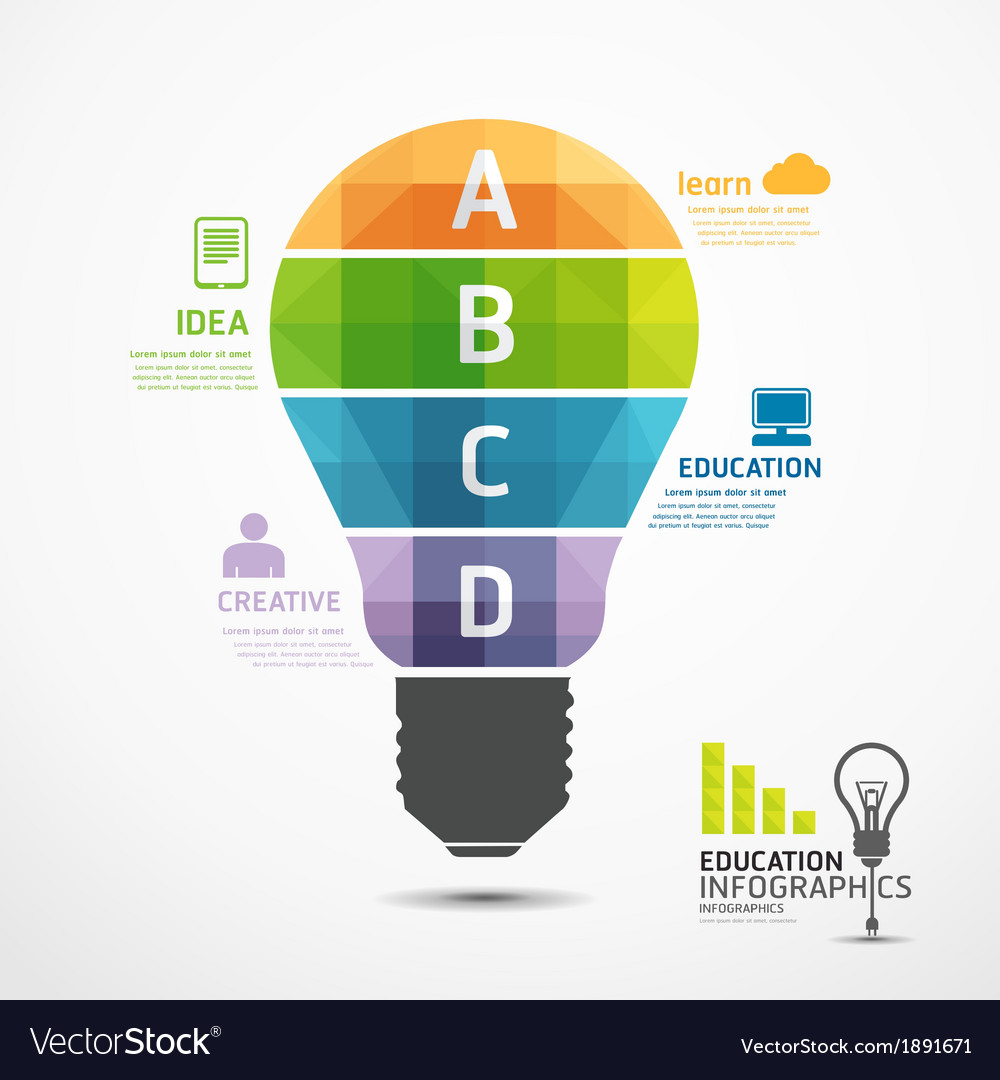 Infographic Template Geometric Light Bulbs Banner Vector Image Idea With Bulb For Creative Diagram