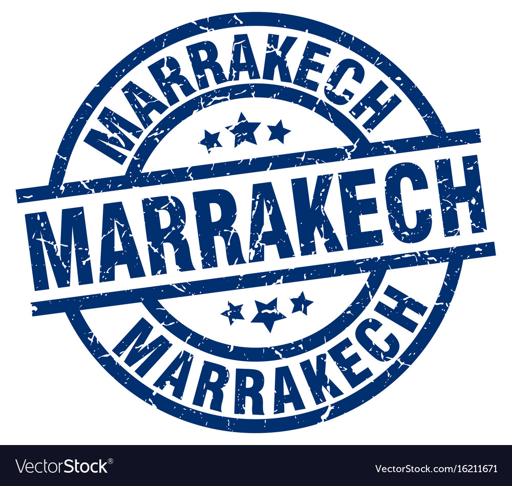 Marrakech blue round grunge stamp vector image on VectorStock