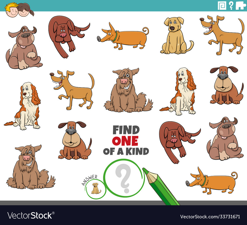 One a kind task for children with dogs