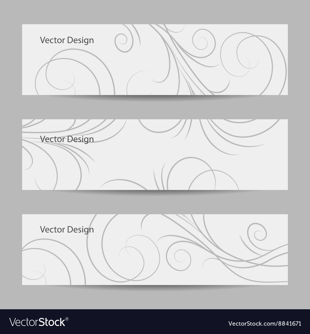 Set of horizontal banners with swirl pattern