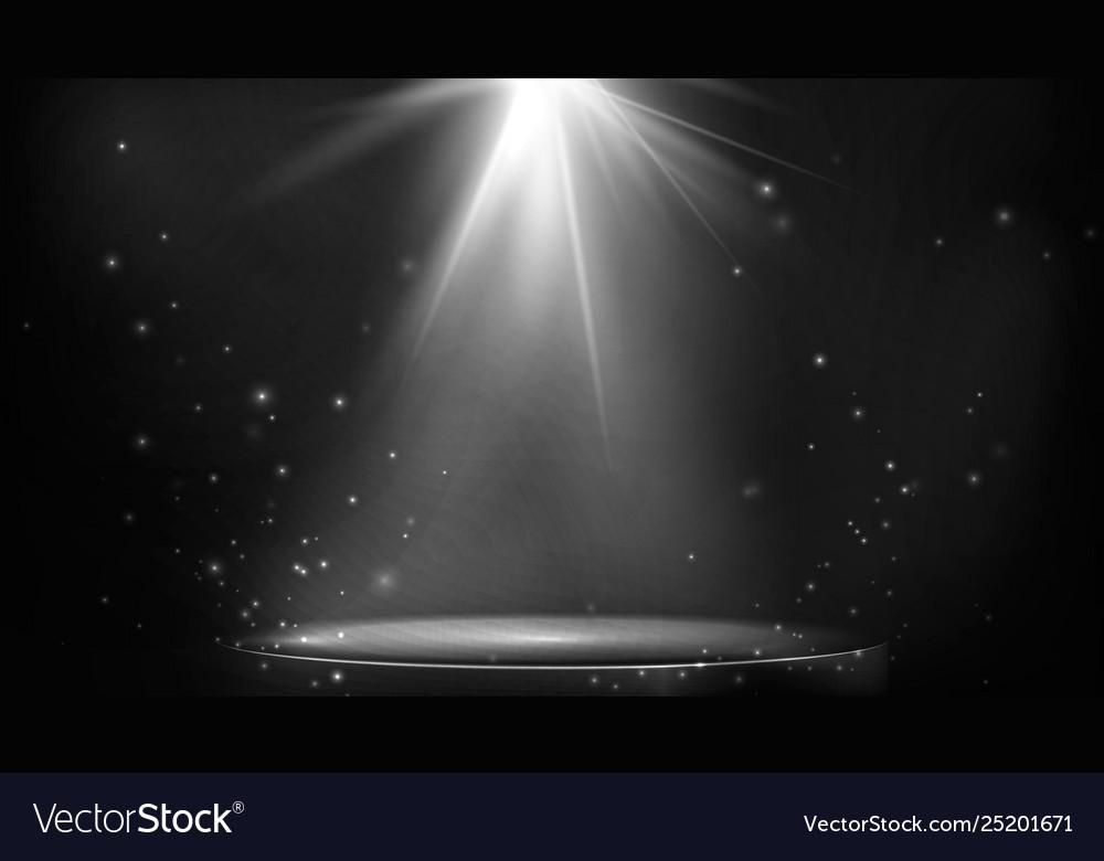 Stage spot lighting empty floodlit podium on dark