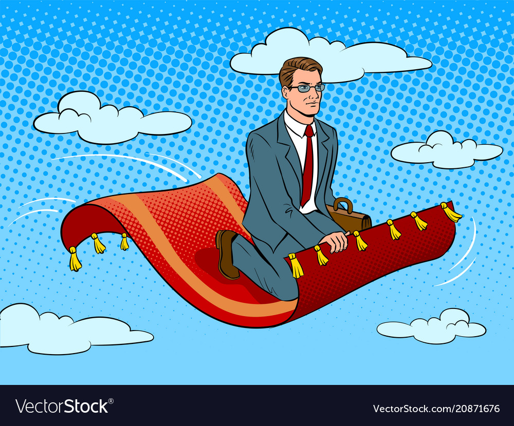 Businessman on magic carpet pop art