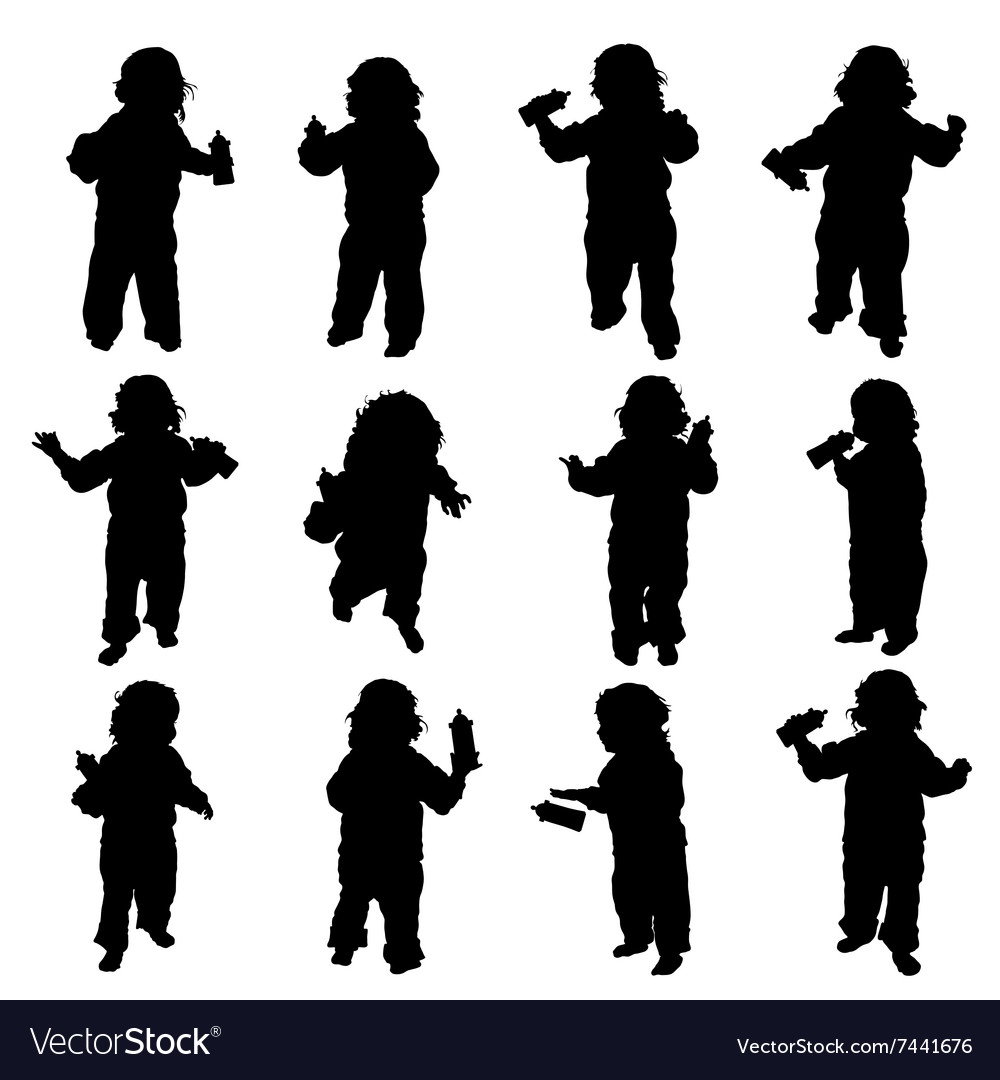 Child with baby bottle in black vector image