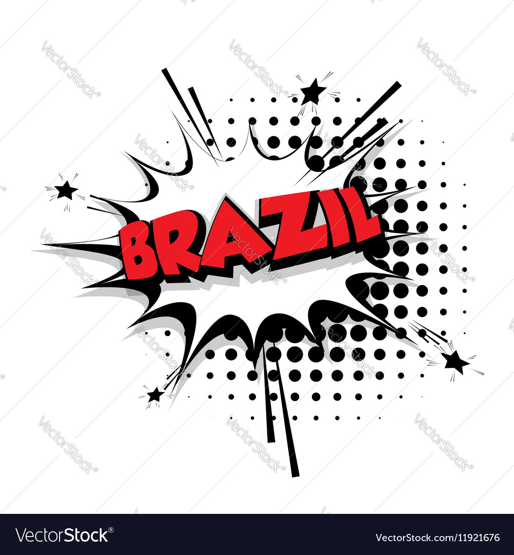 Comic text Brazil sound effects pop art vector image