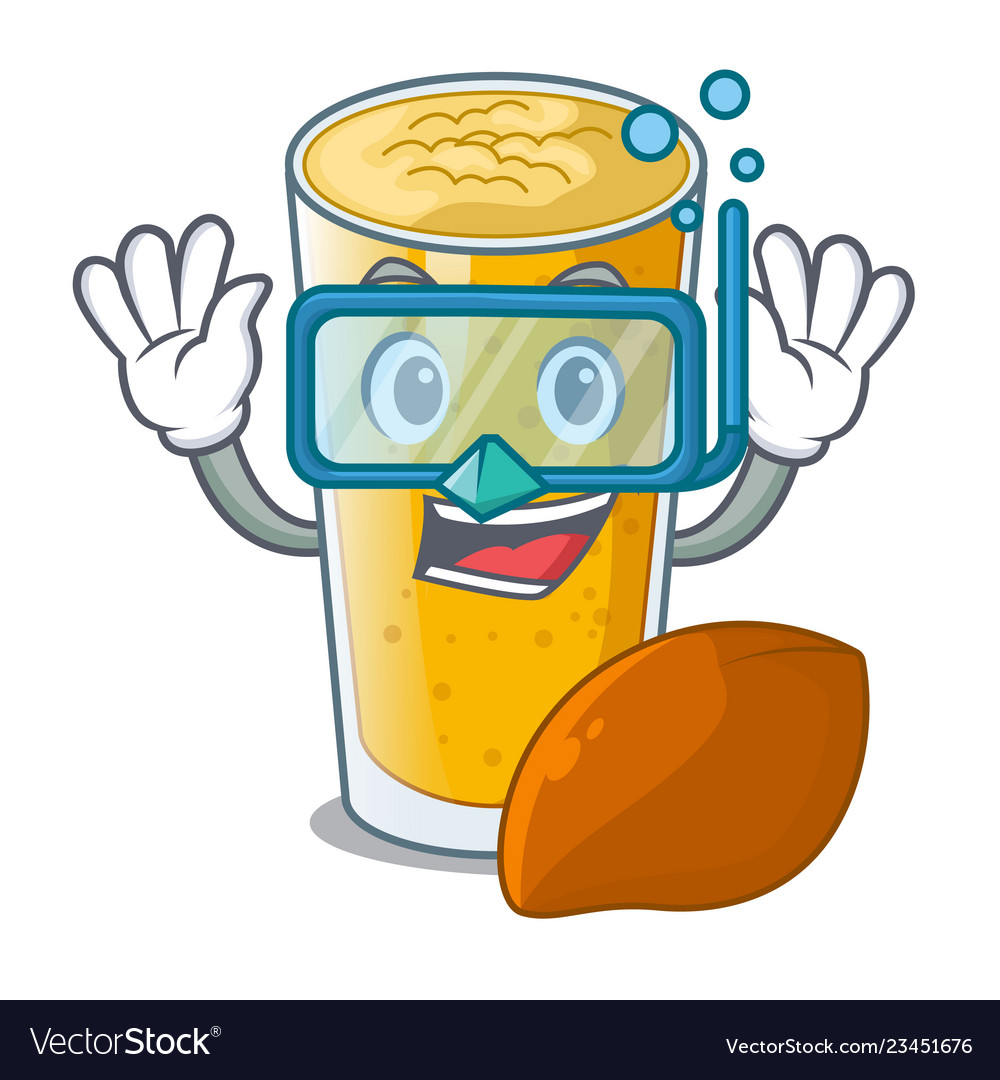 Diving lassi mango in a cartoon bottle