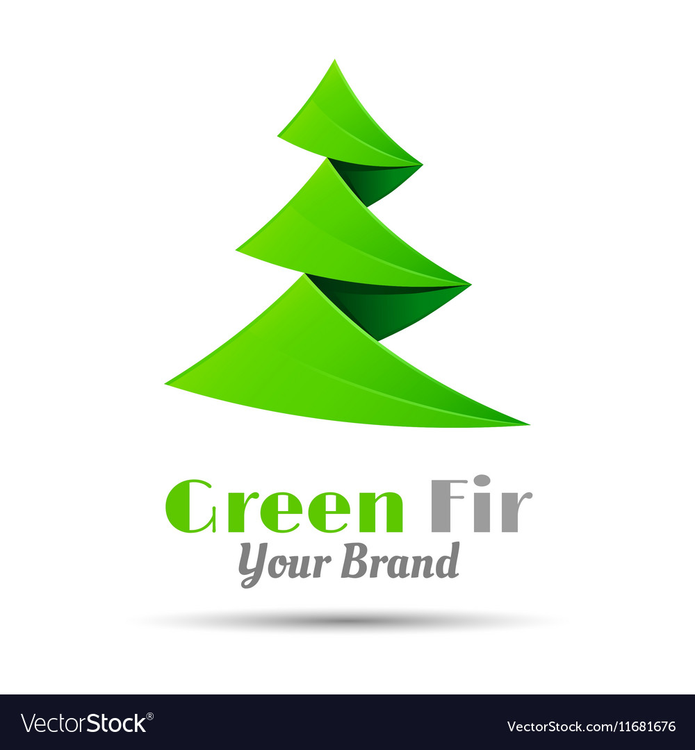 Fir-tree logo template business icon vector image