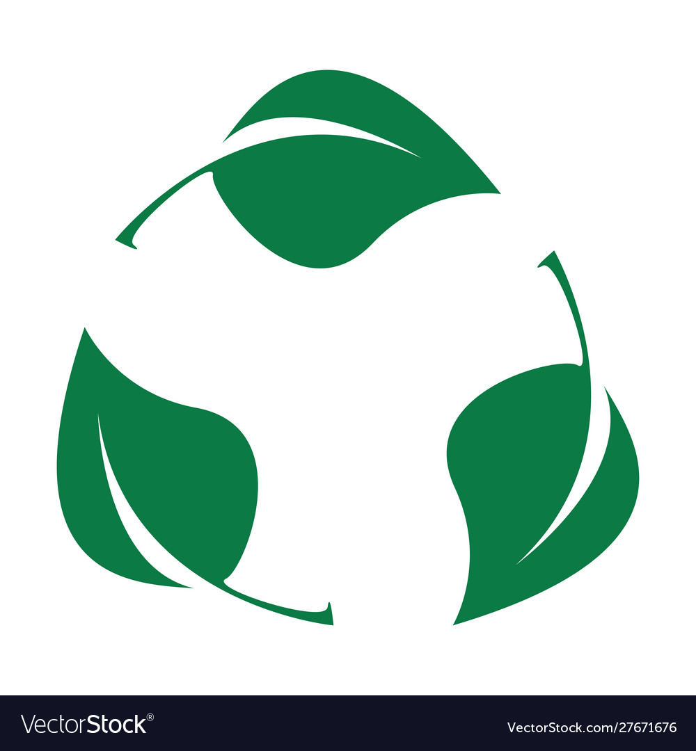 Green leaves bio recyclable plastic icon