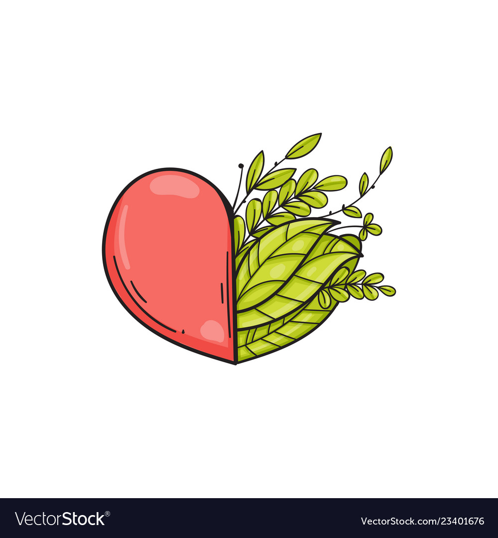 Half of heart with green leaves symbol of love