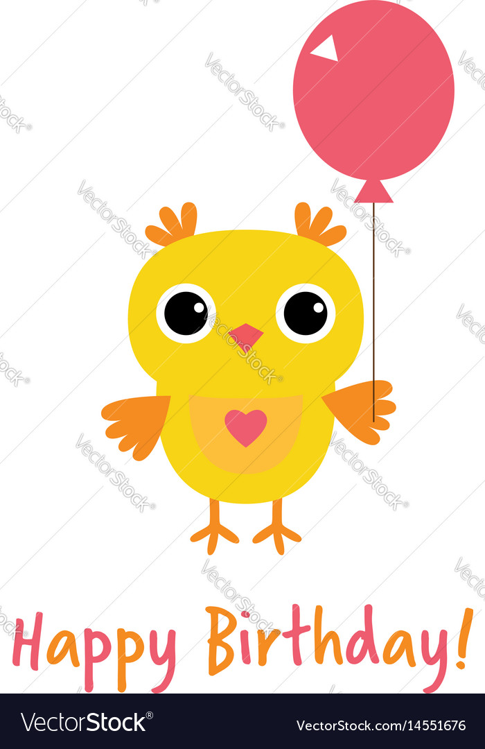 Happy Birthday Card With An Owl Royalty Free Vector Image