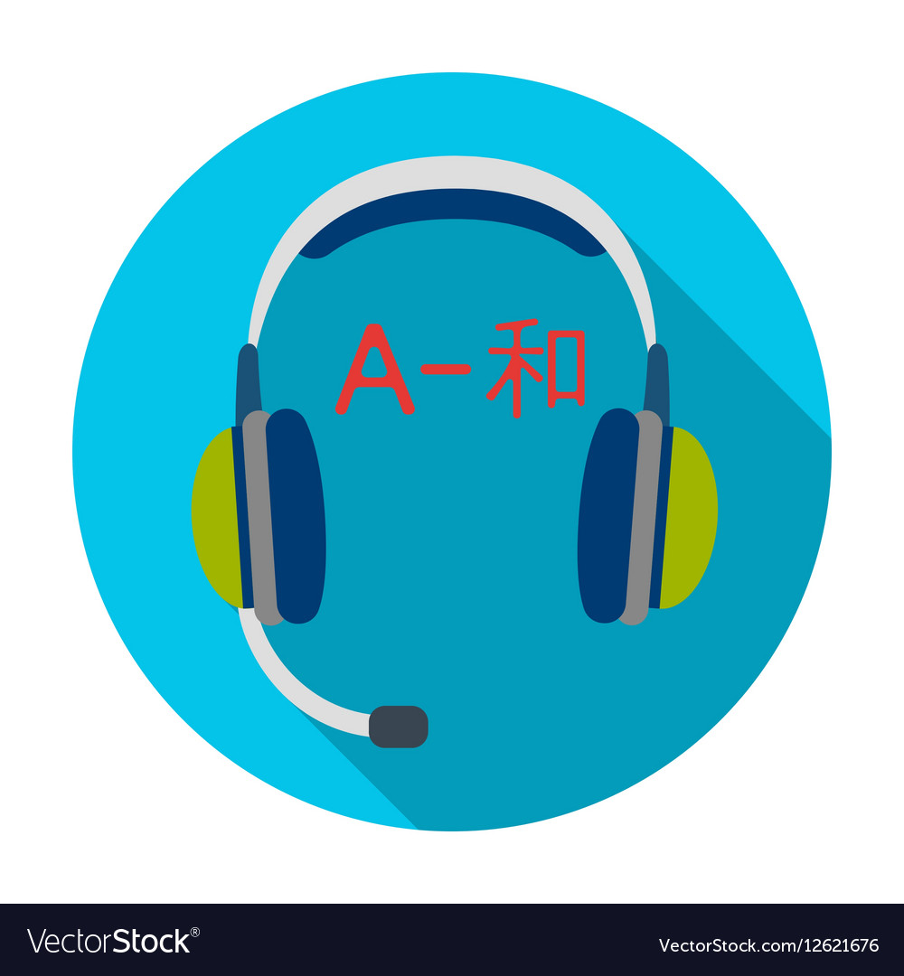 Headphones with translator icon in flat style