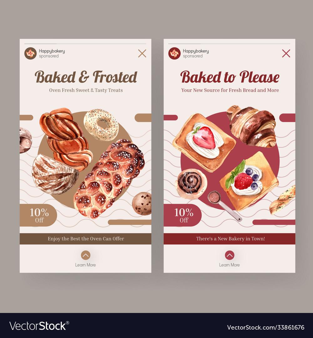 Instagram template with bakery design for online