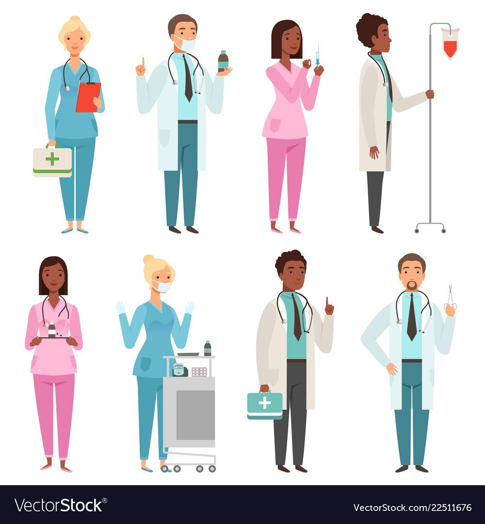 Medic characters hospital stuff male and female