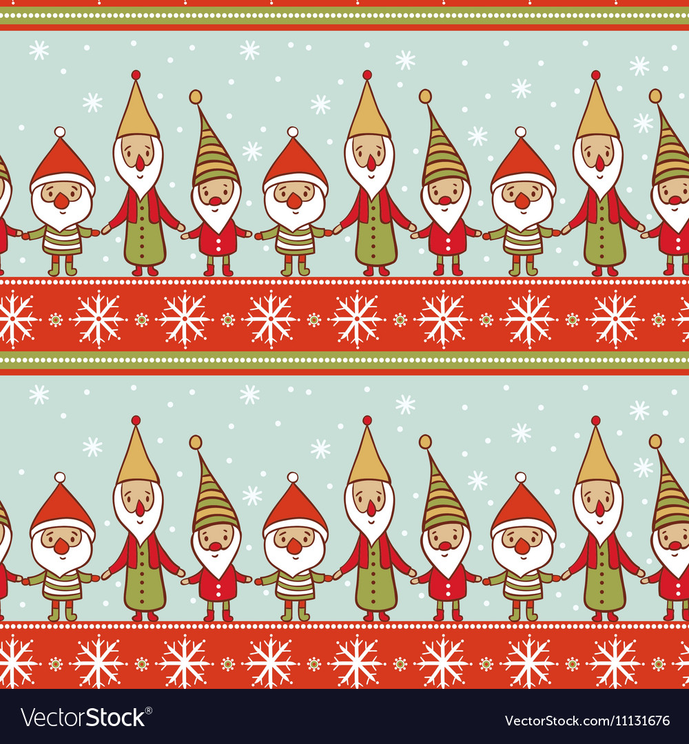 Christmas Gnomes Pattern.Seamless Christmas Pattern With Gnomes