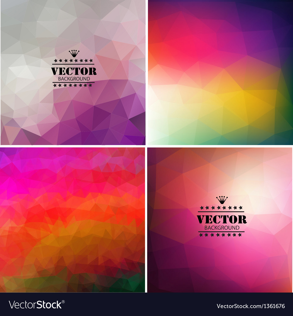 Set of four colorful abstract geometric background