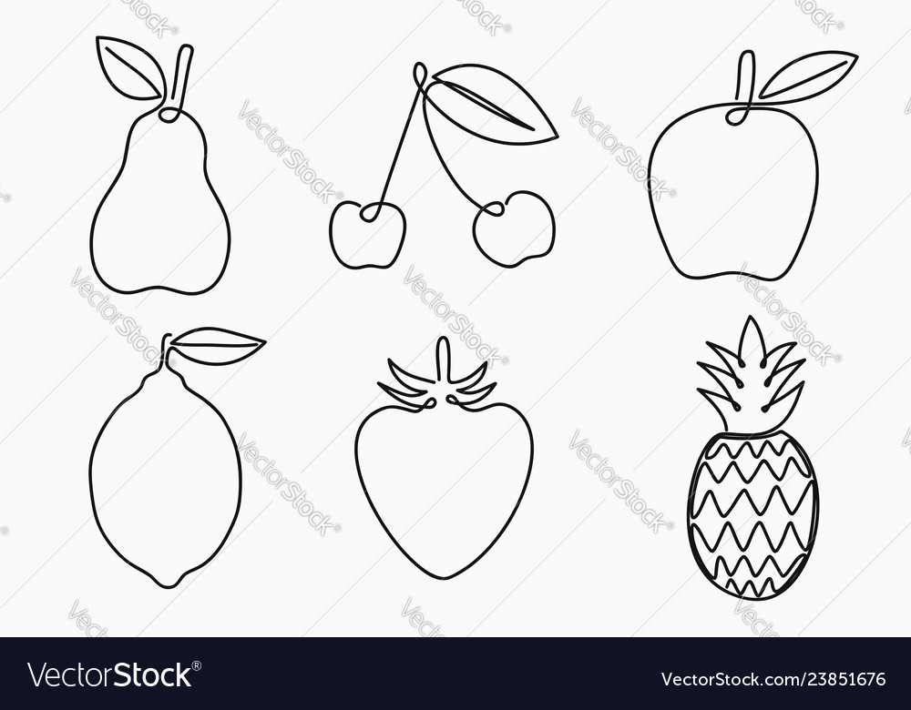 Set of one line drawing fruits continuous line