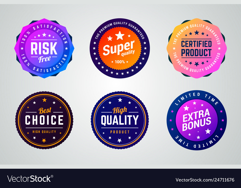 Set of premium colorful gradient badges