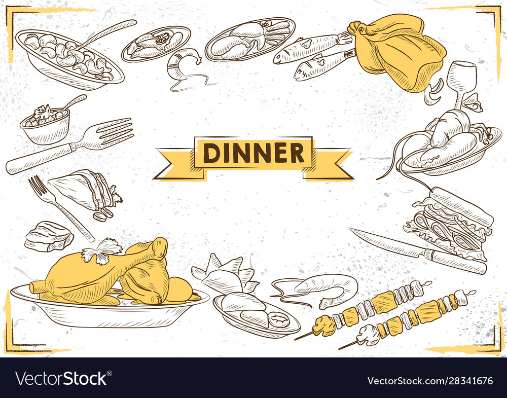 Template different types dinner item