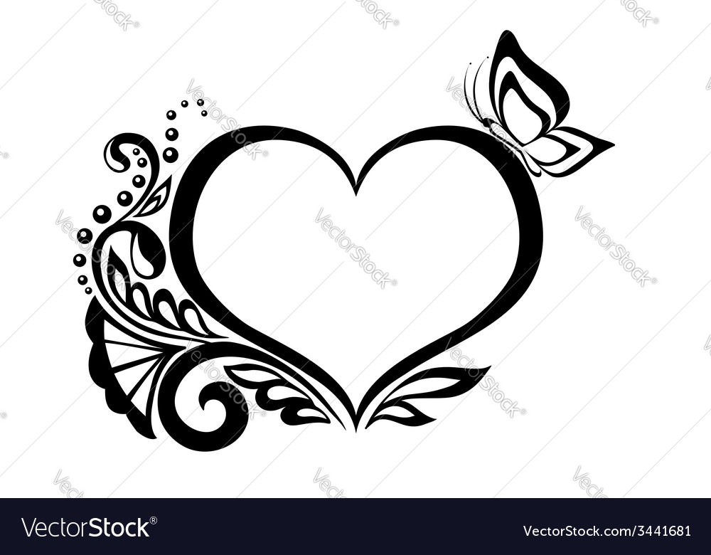 Black And White Heart With Floral Design Vector Image