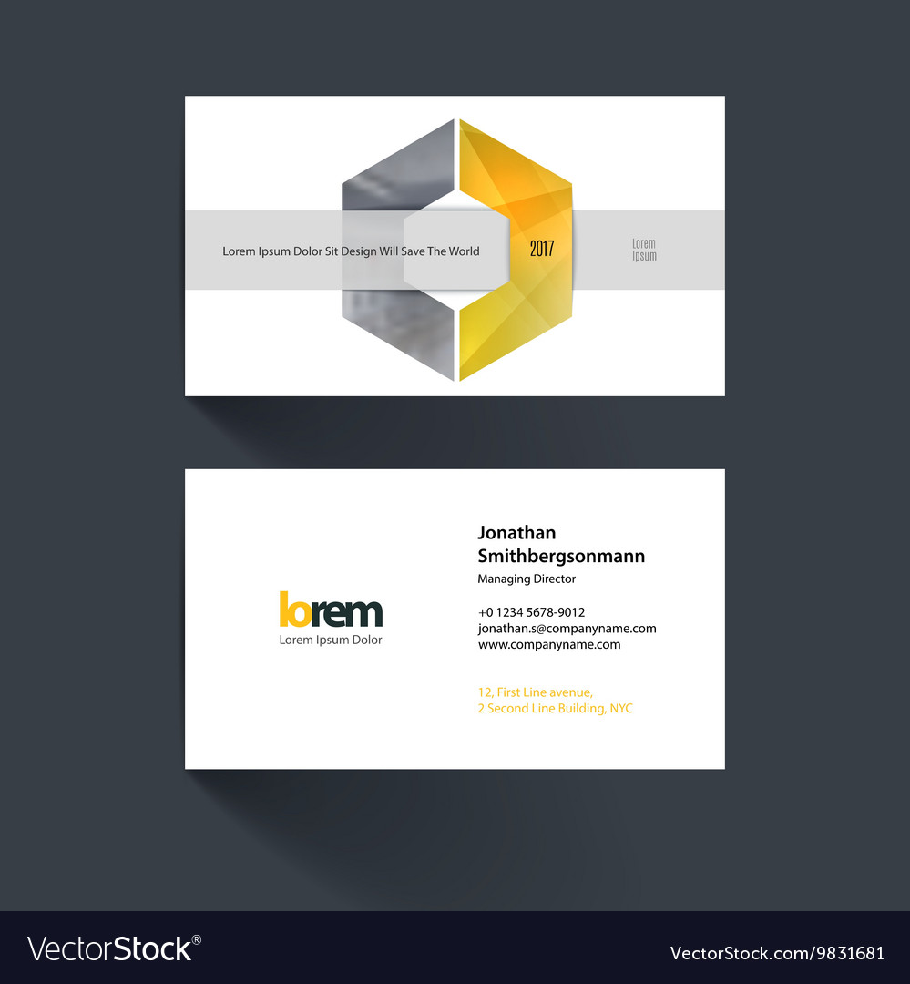 Business card template with geometric shape