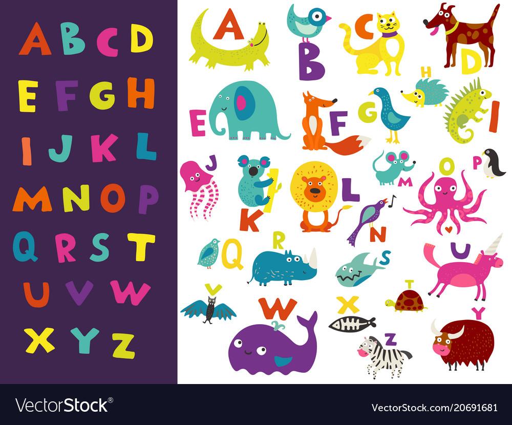 Children alphabet bright set vector image