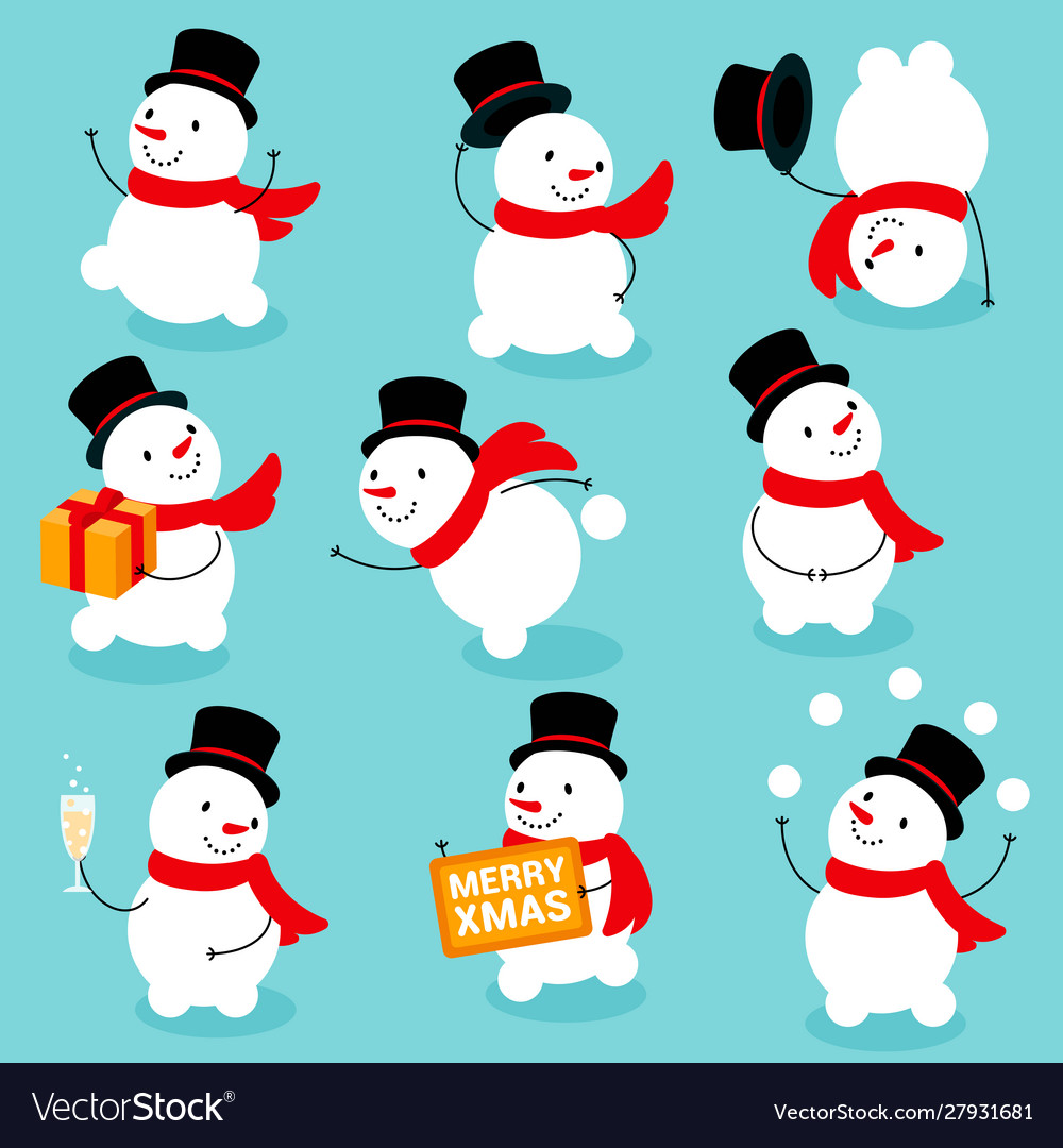 Cute and funny snowmen template christmas cards
