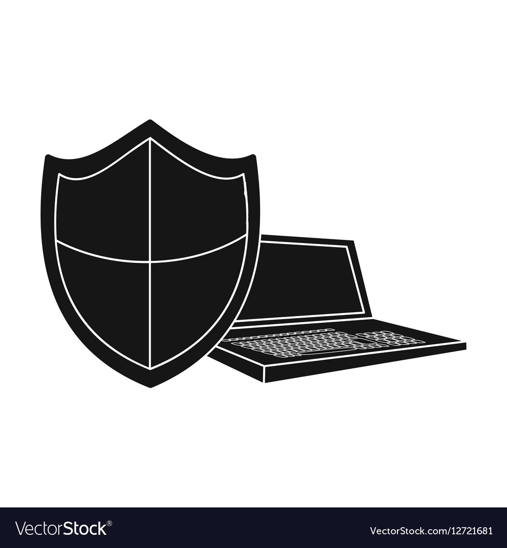 Data security of laptop icon in black style vector image