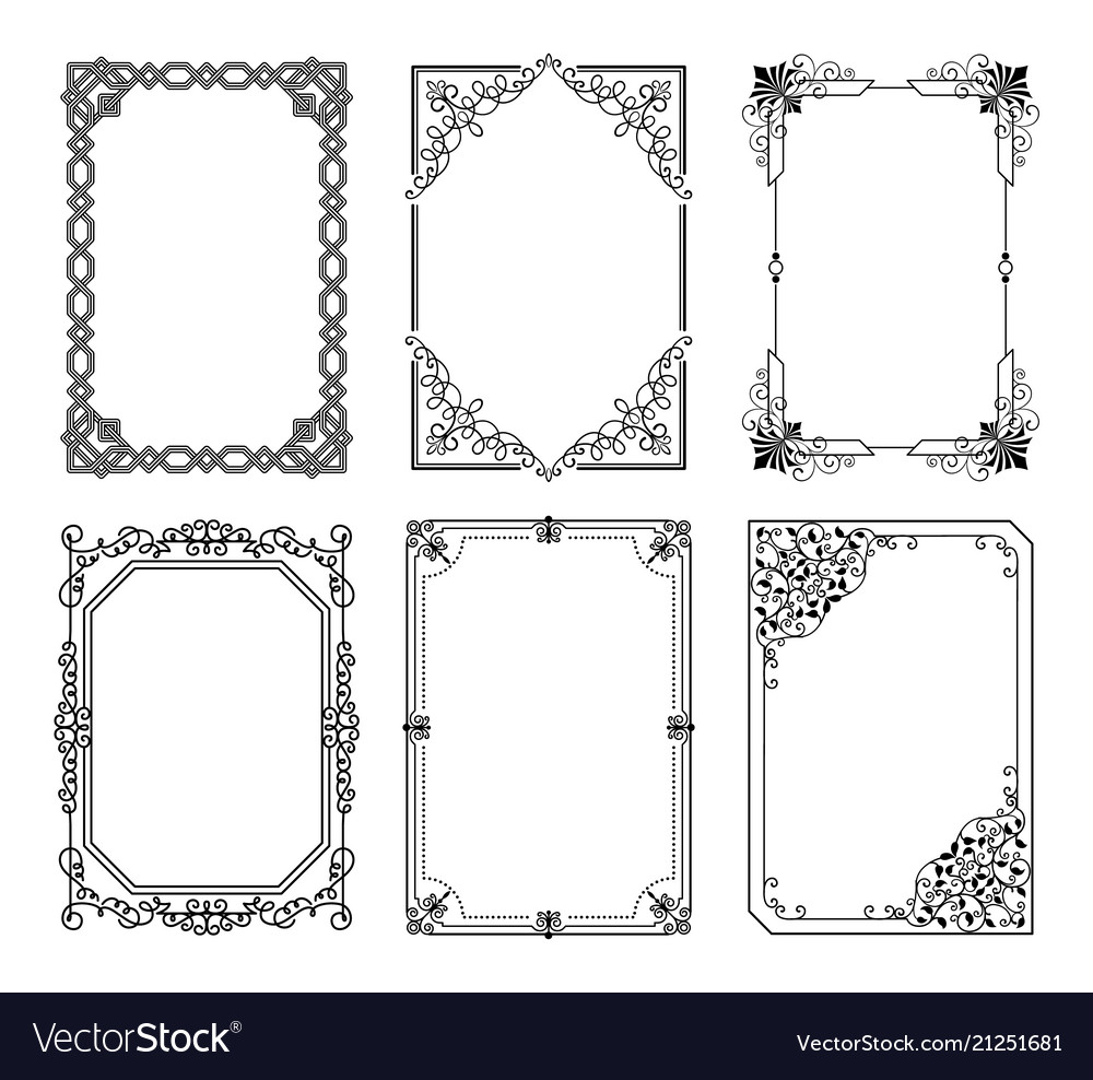 Decorative frames set curved graphic ornament
