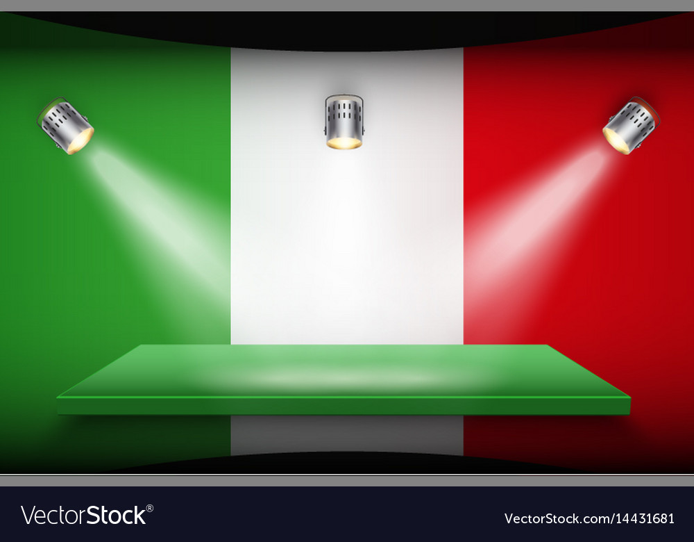 Flag of italy and platform with spotlights